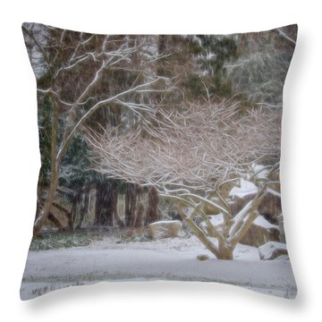 Garden Scene During Winter Snow At Sayen Gardens 2 Throw Pillow