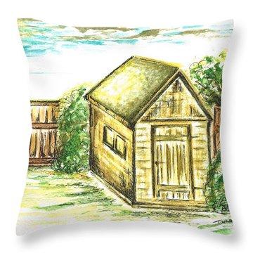 Garden Shed Throw Pillow by Teresa White