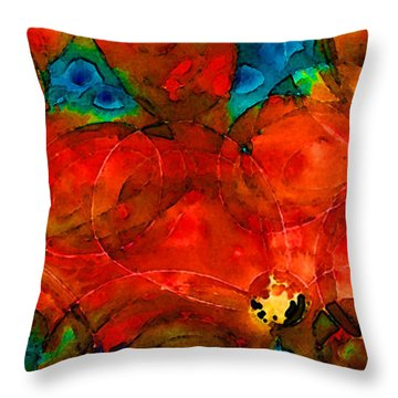 Garden Spirits - Vibrant Red Flowers By Sharon Cummings Throw Pillow by Sharon Cummings