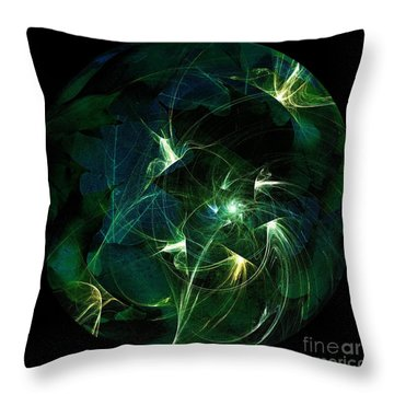 Garden Sprites Come At Night Throw Pillow by Elizabeth McTaggart