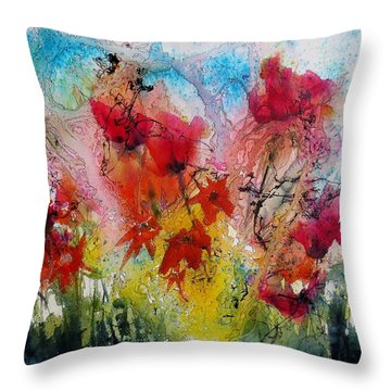Throw Pillow featuring the painting Garden Tangle by Anne Duke