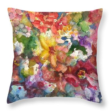 Throw Pillow featuring the painting Garden - The Secret Life Of The Leftover Paint by Anna Ruzsan