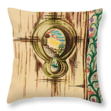 Garden Through The Key Hole Throw Pillow by Teresa White