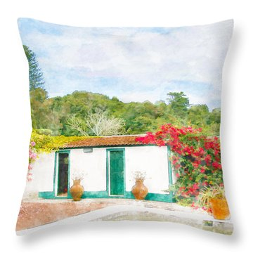 Garden Watercolor Painting Throw Pillow