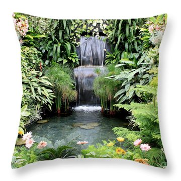 Garden Waterfall Throw Pillow