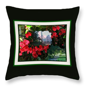 Throw Pillow featuring the photograph Garden Whispers In A Green Frame by Leanne Seymour