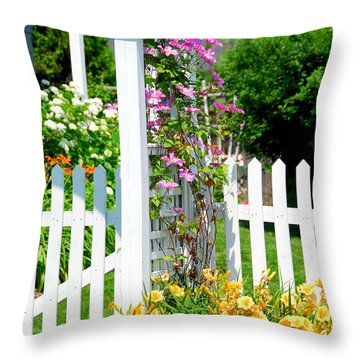 Garden With Picket Fence Throw Pillow