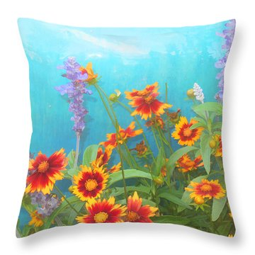 Garden With Turquoise Purple Yellow And Red Throw Pillow