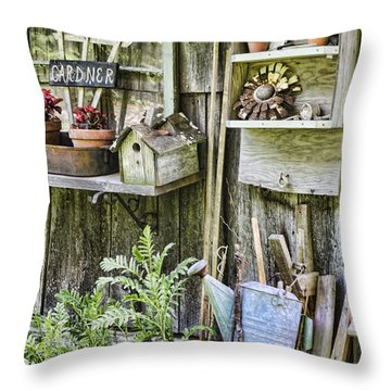 Gardener Corner Throw Pillow by Heather Applegate