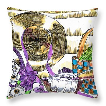 Throw Pillow featuring the drawing Gardener's Basket by Seth Weaver