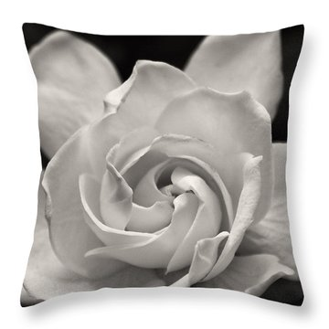 Gardenia Bloom In Sepia Throw Pillow