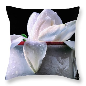 Throw Pillow featuring the photograph Gardenia In Coffee Cup by Silvia Ganora