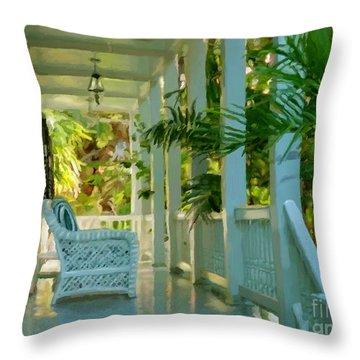 Gardens Porch In Key West Throw Pillow