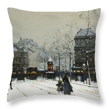 Gare Du Nord Paris Throw Pillow by Eugene Galien-Laloue