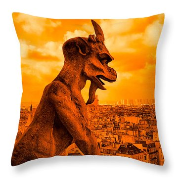 Gargoyle Guardian Of Paris Throw Pillow