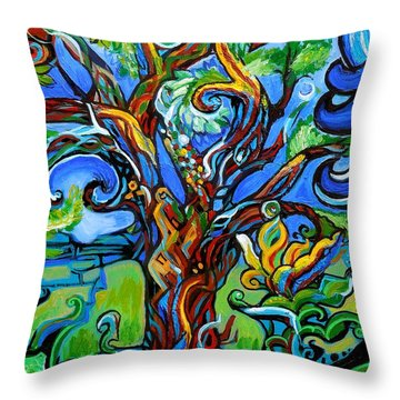 Gargoyle Tree With Crow Throw Pillow by Genevieve Esson