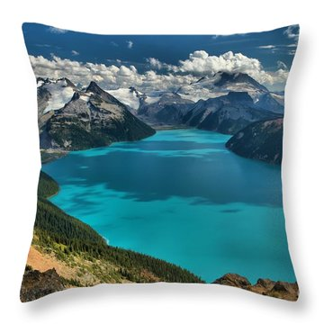 Garibaldi Lake Blues Greens And Mountains Throw Pillow