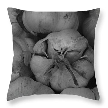 Garlic Throw Pillow by Carrie Cranwill