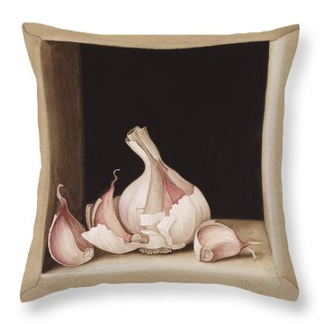 Garlic Throw Pillow by Jenny Barron
