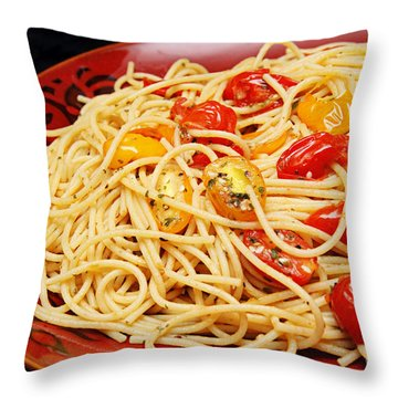 Garlic Pasta And Grape Tomatoes Throw Pillow by Andee Design