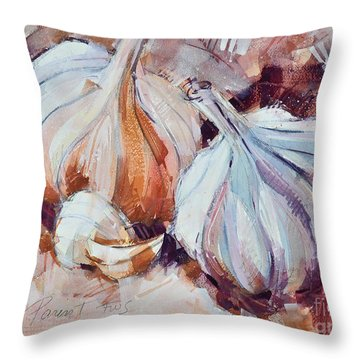 Throw Pillow featuring the painting Garlic by Roger Parent
