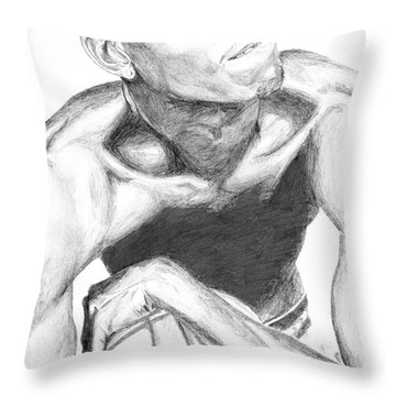 Throw Pillow featuring the drawing Garnett 2 by Tamir Barkan