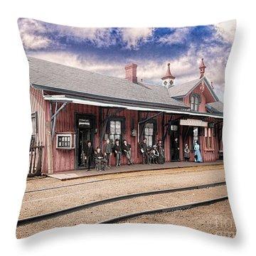 Garrison Train Station Colorized Throw Pillow