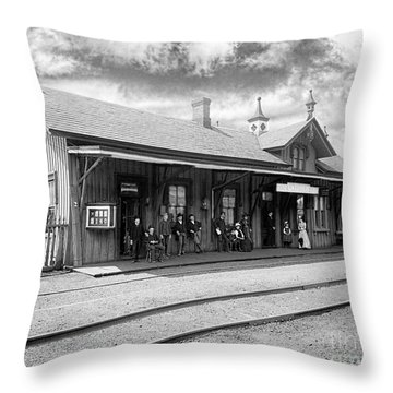 Garrison Train Station In Black And White Throw Pillow
