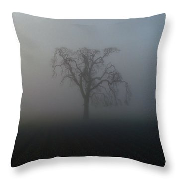 Garry Oak In Fog Throw Pillow by Cheryl Hoyle