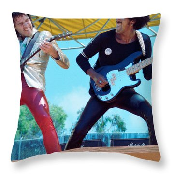Gary Moore And Phil Lynott Of Thin Lizzy At Day On The Green 4th Of July 1979 - 1st Color Unreleased Throw Pillow