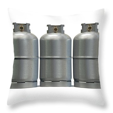 Gas Cylinder Row Throw Pillow by Allan Swart