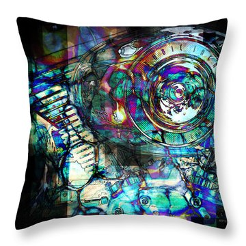 Gasoline Motorcycle Engine Throw Pillow