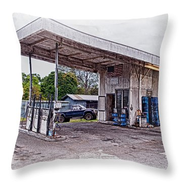 Throw Pillow featuring the photograph Gasoline Station by Jim Thompson