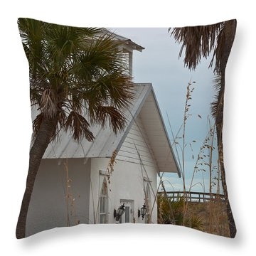 Throw Pillow featuring the photograph Gasparilla Island State Park Chapel by Ed Gleichman