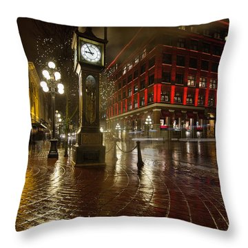 Gastown Steam Clock On A Rainy Night Vertical Throw Pillow by Jit Lim