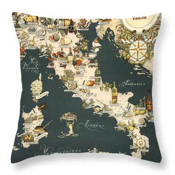 Gastronomic Map Of Italy 1949 Throw Pillow