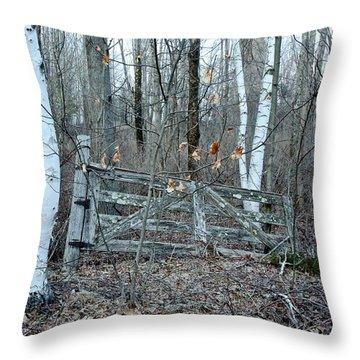 Gate And Birches Throw Pillow by Randi Shenkman