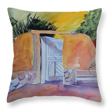 Gate At Ghost Ranch Throw Pillow