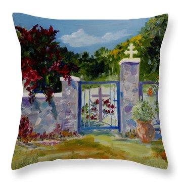 Gate At Tharri Monastery - Rhodes Throw Pillow