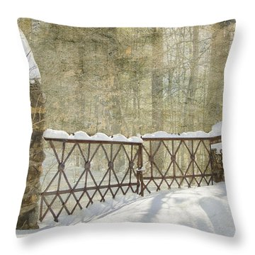 Gated In The Snow Throw Pillow