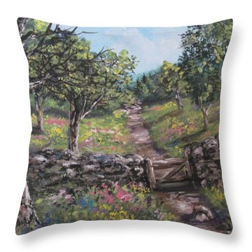 Throw Pillow featuring the painting Gated Pathways by Megan Walsh