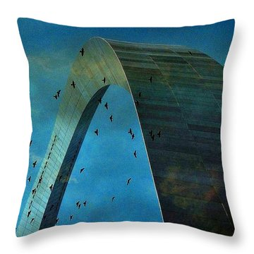 Gateway Arch With Birds Throw Pillow by Janette Boyd