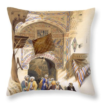 Gateway Of A Bazaar, Grand Cairo, Pub Throw Pillow by A. Margaretta Burr