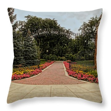 Throw Pillow featuring the photograph Gateway To Ndsu by Trey Foerster