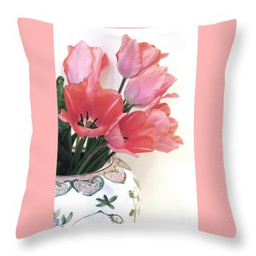 Gathered Tulips Throw Pillow
