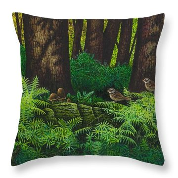 Gathering Among The Ferns Throw Pillow