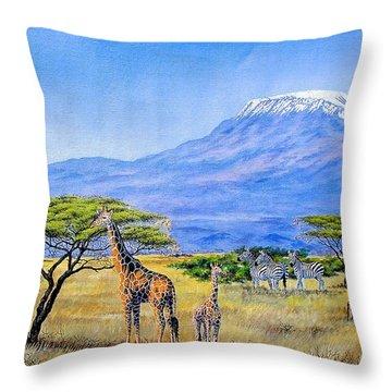 Gathering At Mount Kilimanjaro Throw Pillow