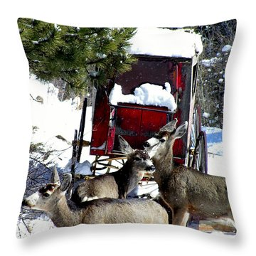 Gathering At The Old Stage Coach.. Throw Pillow