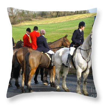 Gathering For The Hunt Throw Pillow by Suzanne Oesterling