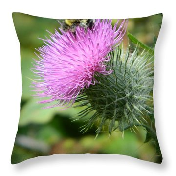 Gathering Pollen Throw Pillow by Chalet Roome-Rigdon